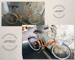 Vélo pliant peugeot orange